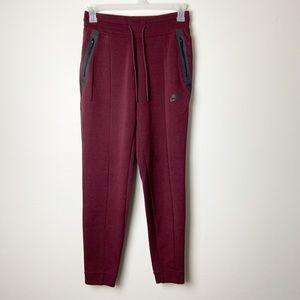 NIKE • Women's Tech Fleece Burgundy Pants Sz S